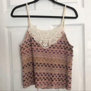 Free People Crochet Knit Tank Top Small